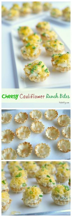 """Cheesy Cauliflower """"Ranch"""" Bites from NoblePig.com. Perfection can exist in one bite."""
