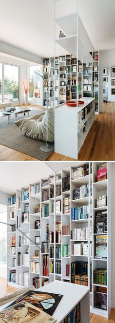 This modern interior has a floor-to-ceiling bookshelf that measures in at 9 feet tall and has asymmetrical compartments so every item has a place of significance. Floor To Ceiling Bookshelves, Bookshelves In Bedroom, Bookcases, Modern Interior, Interior Design, Studio Apartment Decorating, Home Additions, Home Office Design, Diy Room Decor