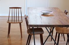 Dining Room   Inside My Hideaway  Dylan Dining table from CB2 designed by Jonas Wahlstrom and Folke Pålsson for FDB Mobler Denmark dining chairs. Borge Mogensen employee.