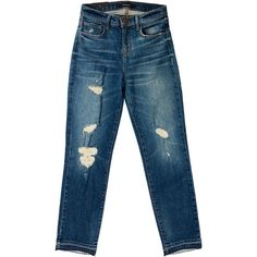 Pre-owned J Brand Distressed High-Rise Jeans ($75) ❤ liked on Polyvore featuring jeans, blue, destroyed jeans, high waisted distressed jeans, ripped jeans, blue jeans and denim skinny jeans