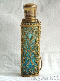 Antique French Turquoise Gilt Ormolu Chatelaine Perfume Scent Bottle ca. Perfume Atomizer, Antique Perfume Bottles, Vintage Bottles, Vases, Beautiful Perfume, E Bay, Glass Bottles, Turquoise, Antiques