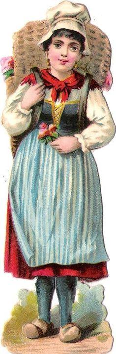 Oblaten Glanzbild scrap die cut chromo Dame femme Lady Blumen Mädchen