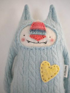 This cracks me up.  I love the face.  It reminds me of Where the Wild Things Are.  Cashmere+Stuffed+Animal+Sweet+Baby+Blue+Cat+by+sweetpoppycat,+$30.00