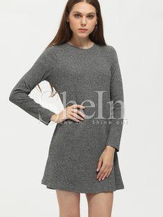 ¡Cómpralo ya!. Grey Crew Neck Shift Dress. Grey Basic Cotton Blends Round Neck Long Sleeve Shift Short Plain Fabric has some stretch Fall Tunic Dresses. , vestidoinformal, casual, informales, informal, day, kleidcasual, vestidoinformal, robeinformelle, vestitoinformale, día. Vestido informal  de mujer color gris de SheIn.