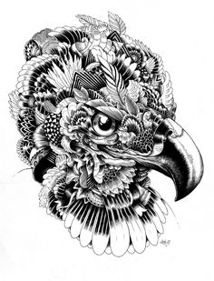 "Iain MacArthur via Behance ""few months ago i had a solo exhibition in LA at the phonebooth gallery inwhich i showcased pieces that i done based around animals. i used techniques such as geometrical patterns and also nature elements to create the faces and the bodys of the chosen animals i found interesting.