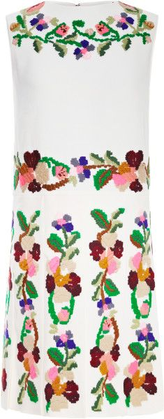 Embroidered Pleated Cady Dress - Lyst