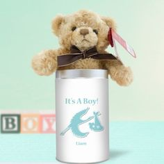 Personalised Teddy in a Tin - It's a Boy Stork Design Unique Baby Gifts, New Baby Gifts, Gifts For Boys, Stork, Boy Or Girl, New Baby Products, Personalized Gifts, Tin, Mugs