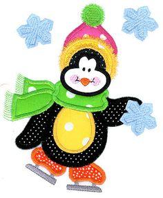 Skating in the Snow Penguin Applique Design
