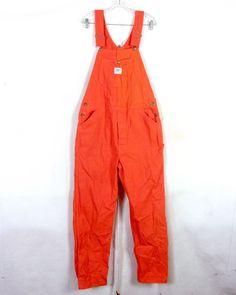vtg 70s Liberty Safety Orange Denim Twill Work Overalls Hunting Hip Hop 36 X 32 #Liberty