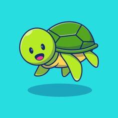 Cute Turtles, Animal Design, Illustration, Pikachu, Freepik Vector, Swimming, Concept, Animals, Fictional Characters