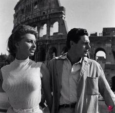 Sophia Loren and Marcello Mastroianni, Rome 1954