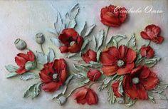 Embossed Floral Wallpaper Red Poppy Flower Wall Mural Oil Painting Wall Art Living Room Bedroom E Sculpture Painting, Ceramic Painting, Wall Sculptures, Clay Wall Art, Clay Art, Mural Art, Wall Murals, Wall Painting Living Room, Plaster Art