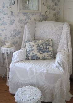"Aiken House & Gardens. White chenille bedspread makes a perfect ""slipcover."""