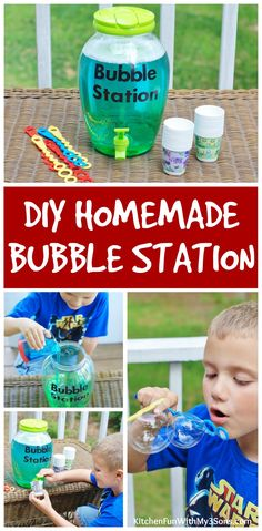 DIY Bubble Refill Station & Homemade Bubbles Recipe! - Kitchen Fun With My 3 Sons