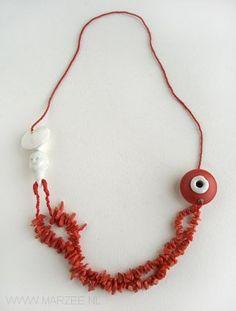 Karin Seufert - necklace, 2003 coral, silver, enamel, porcelain - L 21 cm