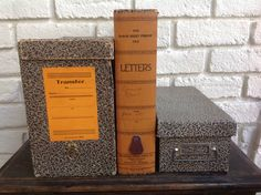 Vintage Antique cardboard file box collection office desk tool by Hannahandhersisters on Etsy
