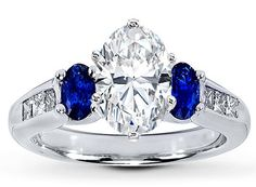 Engagement Ring - Three Stone Oval Diamond Engagment Ring Blue Sapphires Side stones in White Gold