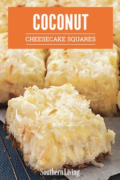 Dreaming of a tropical vacation? Well, you may not be able to swing that this week, but we've got the next best thing—Coconut Cheesecake Squares. There's no better cure for the wistful vacation blues than a batch of these dreamy bars. Kokos Desserts, Coconut Desserts, Coconut Recipes, Köstliche Desserts, Sweets Recipes, Baking Recipes, Cookie Recipes, Delicious Desserts, Yummy Food