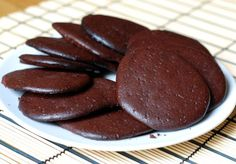 Low-carb Flourless Chocolate Biscuits (Includes cream cheese in mixture along with cocoa powder, eggs, vanilla, butter and sweetener/ 0.8g carbs per biscuit