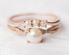 14k Rose Gold Pearl Engagement Ring Set Pearl Ring Wedding | Etsy