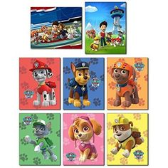 PAW PATROL Wall Art Poster Prints - Set of Eight 8x10 Photos - Everest Ryder Chase Marshall Skye Zuma Rubble