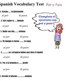Spanish Vocabulary Test: Por y Para B1