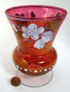 Vintage Ruby Flash Art Glass Vase Hand Painted Flowers 1900 Red White - Italian