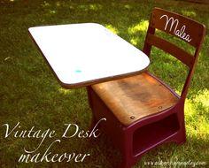 dry erase top Vintage School Desk Makeover - Ask Anna Painted School Desks, Old School Desks, Old Desks, School Kids, School Desk Makeover, Office Makeover, Kids Art Station, Desk Redo, Childrens Desk