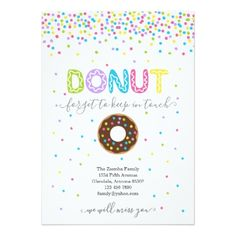 Donut Forget to Keep in Touch Address Announcement - invitations custom unique diy personalize occasions