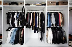 "Your closet is clearly the crown jewel of your home. Did it come like this when you bought the house, or did you customize it to fit your needs? ""We actually built our house 10 years ago, so my husband, David, designed my closet. I like to organize my clothes by categories, and within each category, I organize by colors. I've had no professional help. Just me!"""