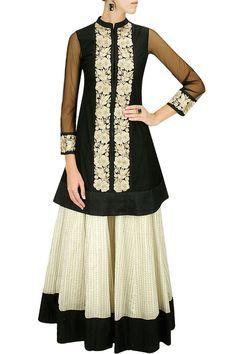 VASAVI SHAH Black embroidered straight kurta with off white printed chanderi lehenga