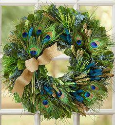 peacock wreath | Proud Peacock Wreath | Floral Wreaths | 1800FLOWERS.COM-97625