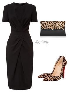 A fashion look from October 2015 by sara-elizabeth-feesey featuring Jaeger, Christian Louboutin and Diane Von Furstenberg Classy Outfits, Chic Outfits, Woman Outfits, Black Dress Outfits, Work Fashion, Fashion Looks, Fashion Fashion, Office Fashion Women, Fashion Spring