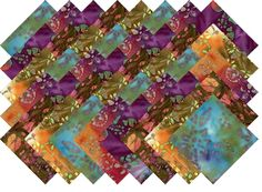 "BATIK VARIETY #15 COLLECTION 40 Precut 5"" QUILTING FABRIC SQUARES #MDG"