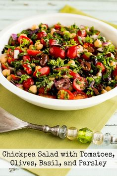 I'm a huge fan of garbanzo beans, but in the re-make of this favorite salad I'm using less beans and more tomatoes, olives, and herbs for a more carb-conscious salad. If Garbanzos are not your favorite, use a different type of bean for this tasty vegan salad that's also gluten-free, dairy-free, low-glycemic, and South Beach…