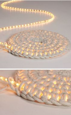 Home Discover Knitting Patterns Yarn Crochet LED fairy lights as carpet schoenstricken. Crochet Projects Craft Projects Crochet Diy Crochet Rope Learn Crochet Crochet Ideas Led Fairy Lights Creation Deco Arts And Crafts Crochet Projects, Craft Projects, Diy And Crafts, Arts And Crafts, Crochet Diy, Crochet Rope, Learn Crochet, Crochet Ideas, Led Fairy Lights