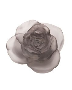 H88E7 Daum Gray Rose Passion Flower Sculpture