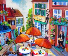 Paris Street  is an original painting done by me Elaine Cory. It is on a canvas 16 x 20 x 3/4. The sides are painted like the front. It is