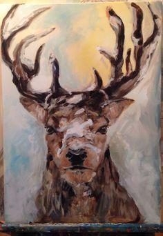 Painting deer (sold), Esther Eggink