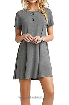 65c1fb8a493 Women Short Sleeve Casual Loose Swing Basic Cotton Simple Tunic T-shirt  Dresses