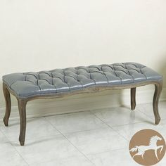 Christopher Knight Home Tufted Grey Leather Bench with Weathered Oak Frame 17.32 inches high x 17 inches wide x 45.7 inches deep $177