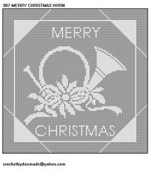 987 Merry Christmas Horn Filet Crochet Doily Afghan Pattern                                                                                                                                                                                 More
