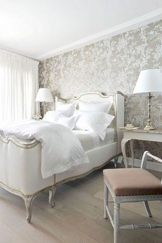 Trendy Bedroom Grey Beige Home Gray Bedroom, Trendy Bedroom, Home Bedroom, Bedroom Ideas, French Bedroom Decor, Master Bedroom, Bedroom Classic, French Bedroom Furniture, White And Silver Bedroom