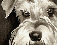 BOXER cachorro Sepia lámina firmada por artista por k9artgallery