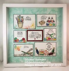 I used Stampin& Up! products to create this Sampler for my craft room. Stamp sets: Artisan Textures, It starts with Art, Crafting Forever collageframes Scrapbooking, Scrapbook Pages, Box Frame Art, Shadow Box Frames, Karten Diy, Collage Frames, Home And Deco, Stampin Up Cards, Crochet