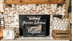 Beautiful Fireplace makeover - go look at our piece for lots more inspiring ideas! Beautiful Fireplace makeover - go look at our piece for lots more inspiring ideas! Brick Fireplace Makeover, Home Fireplace, Fireplace Remodel, Fireplace Ideas, Prefab Fireplace, Brick Fireplaces, Fireplace Update, Chip And Joanna Gaines, Farmhouse Chic