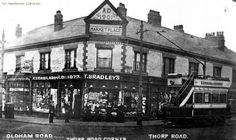 Oldham Road Thorpe Road corner 1905, Newton Heath, Manchester. Old M, My Family History, Derbyshire, Amazing Pictures, History Facts, Good Old, Athens, Manchester, Corner