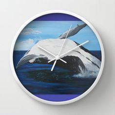 sea clock for wall clocks with whale breachimg on by TheCateEscape, $39.99