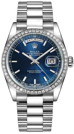 Rolex Day-Date 36mm Platinum Diamond Bezel 118346 Blue Index President