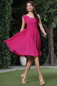 Simple Ruched One Shoulder Cocktail Dress Bridesmaid Dress (C04134312) - USD 84.48